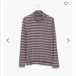 Madewell whisper nealy blue stripe turtleneck top